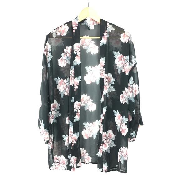 07127ce7b H&M Tops | Hm Sheer Floral Kimono Cardigan Womens Medium | Poshmark